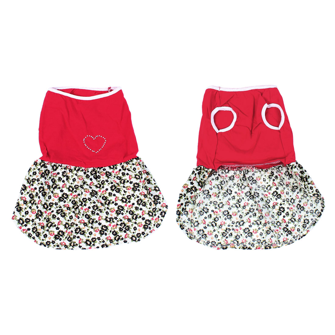 Unique Bargains Pet Dog Yorkie Floral Heart Printed Pullover Skirt Costume Clothes Red Beige L