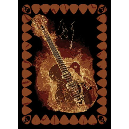 Music Rug (Designer Home Epoch Area Rugs - 910-06430 Novelty Black Skulls Flames Guitar Music Rug 5' 3