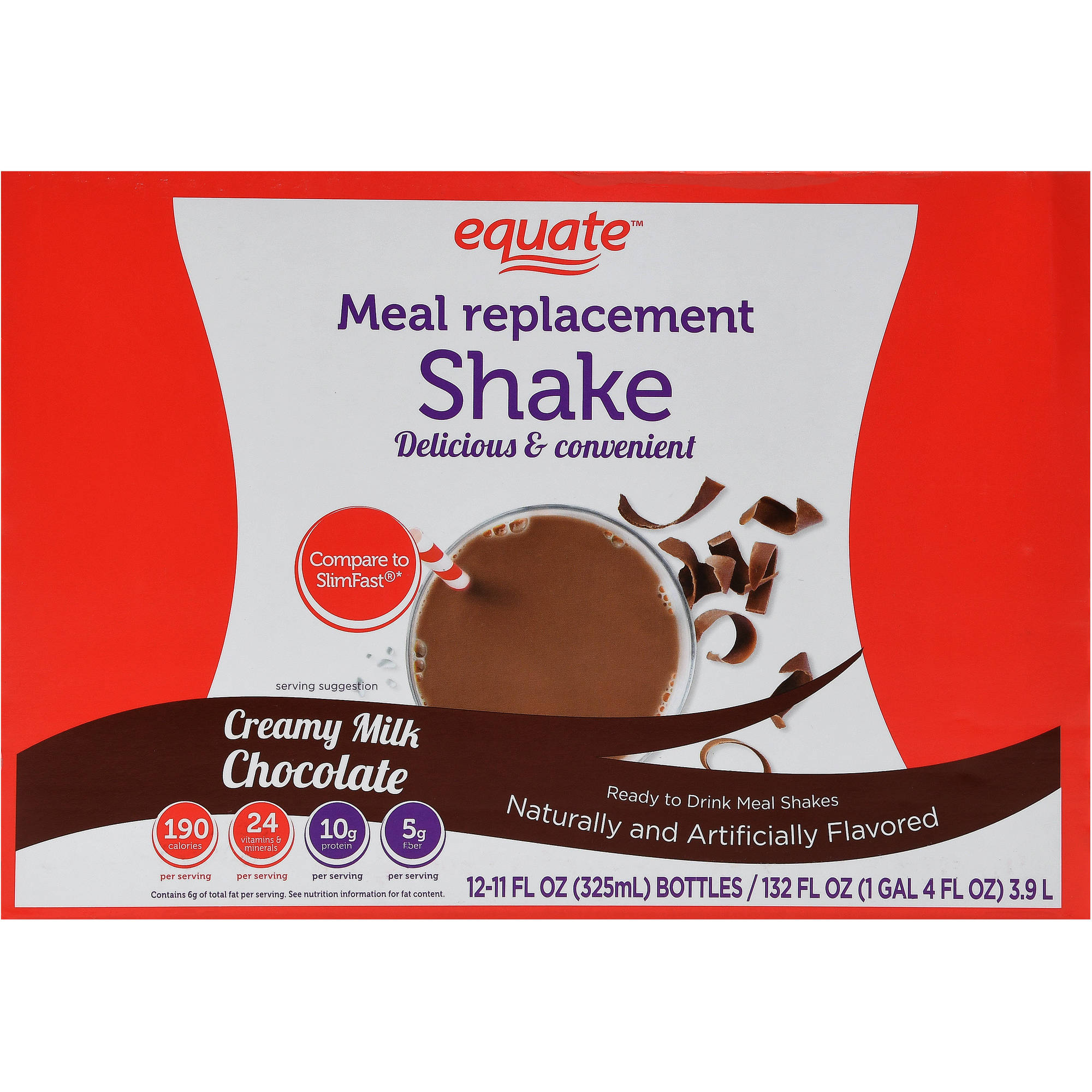 Equate Creamy Milk Chocolate Ultra Weight Loss Shake, 12 ct
