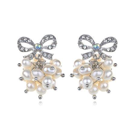 - Petite Faux Pearl Cluster Elegant Clear Crystal Rhinestone Bow Pierced Earrings