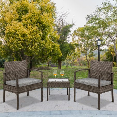 Zimtown 3 PCS Wicker Rattan Chair Sofa Seat w/Table & Cushioned – Outdoor Seating Set for Porch Poolside Garden Backyard Balcony Hotel ()