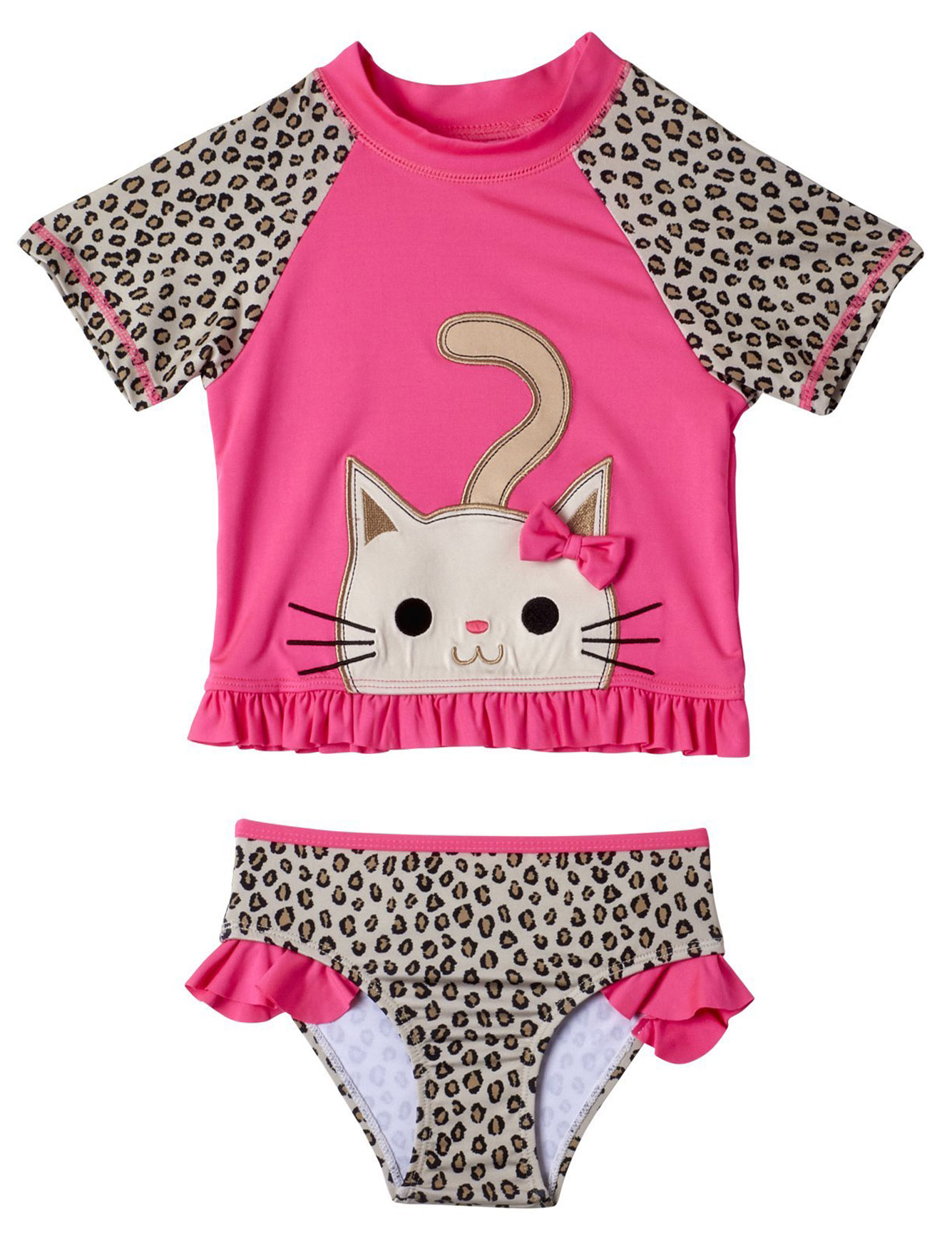 Wippette Baby Girls Cheetah Print 2-Piece Rashguard Sun Protection Swimsuit Set