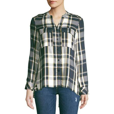 Mixed-Media Plaid Button-Down Shirt