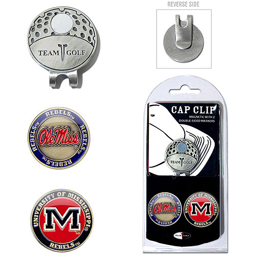 Team Golf NCAA Mississippi Cap Clip With 2 Golf Ball Markers
