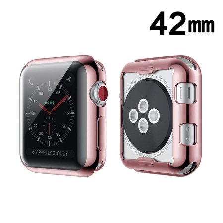 Apple Watch Series 1 42mm Watch Series 2 42mm Watch Series 3 42mm Case, by Insten Electroplating Rubber TPU Transparent Case Cover For Apple Watch Series 1 42mm Watch Series 2 42mm Watch Series 3 42mm