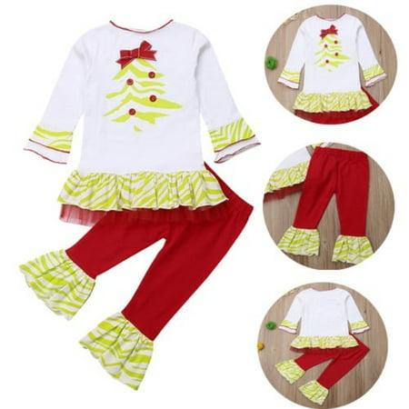 2PCS Toddler Baby Kids Girls Christmas Clothes Set Cotton Long Sleeve Ruffle T-shirt Top+Pants Outfits Set
