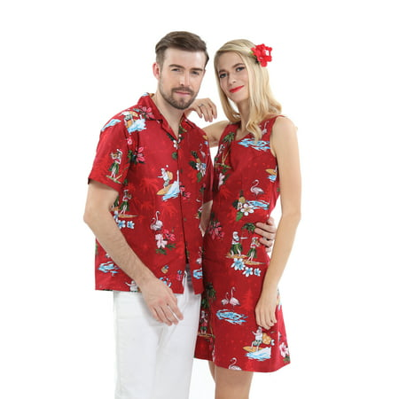 Couple Matching Hawaiian Luau Cruise Christmas Outfit Shirt Dress Santa Red Men 2XL Women S