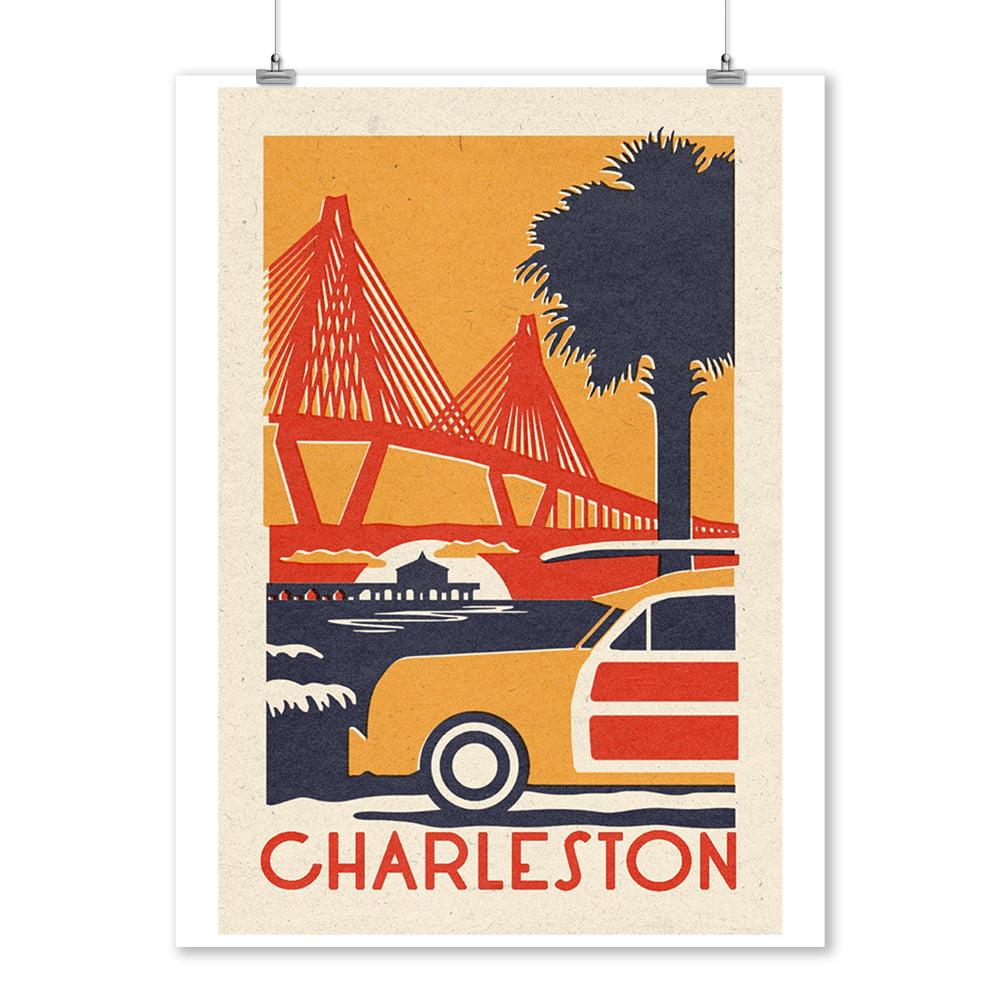 South Carolina - Ravenel Bridge - Woodblock - Lantern Press Artwork (9x12 Art Print, Wall Decor Travel Poster)