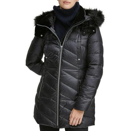 Shirley Faux Fur-Trim Hooded Puffer Coat Womens Hooded Nuptse Jacket