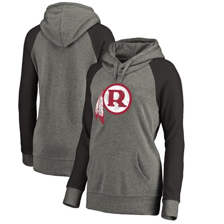 bfa27d11 Washington Redskins NFL Pro Line by Fanatics Branded Women's Throwback Logo  Tri-Blend Raglan Plus Size Pullover Hoodie - Gray/Black
