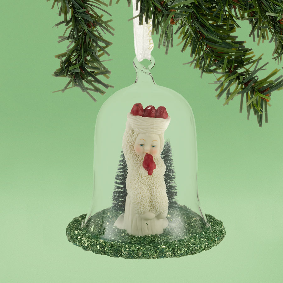 Snowbabies Holiday Tweets Baby with Bird Porcelain Christmas Ornament 4031921
