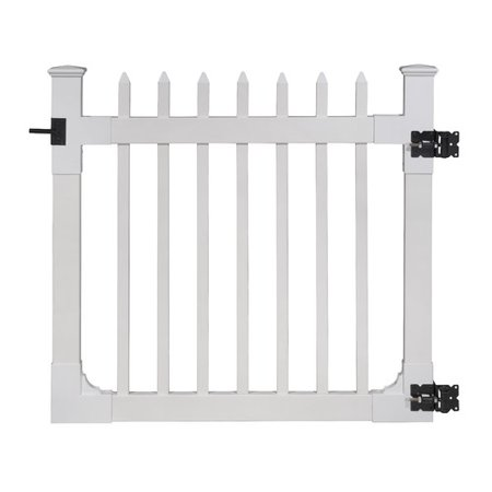 Wam Bam No-Dig Fence Nantucket Vinyl Picket Gate with Stainless Steel Hardware