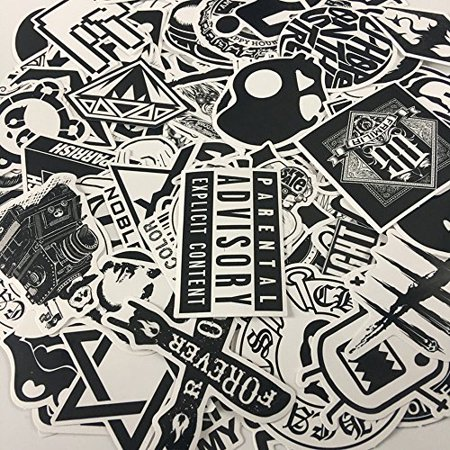 120PCS Black White Vinyl Sticker Graffiti Decal Perfect to Laptops, Skateboards, Luggage, Cars, Bumpers, Bikes, - image 4 of 6