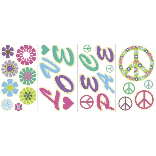 Peace Love Flowers Glow In The Dark Wall Art Kit