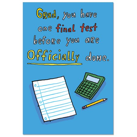 7bfd52153e642 C1560GDG Funny Graduation Greeting Card 'One Final Test Graduation Joke  Paper' with Envelope by NobleWorks
