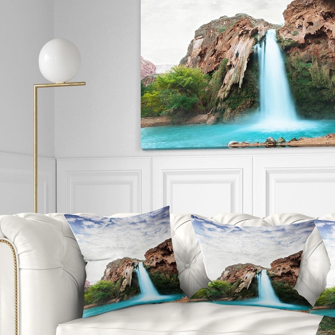 Design Art Designart Amazing Waterfall Under Cloudy Sky Landscape Printed Throw Pillow Walmart Com Walmart Com