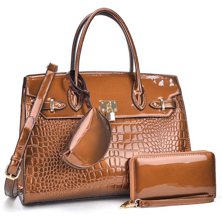 3PCs Croco Patent Leather Medium Satchel with Matching Wallet and Mini Organizer pouch Croco Leather Handbags