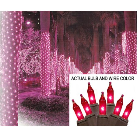 2 x 8 pink mini christmas net style tree trunk wrap lights brown