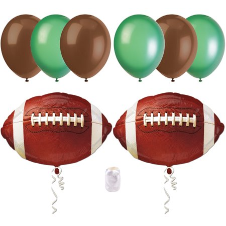 Football Super Bowl Party Bouquet Decorations 8pc Balloon Pack, Brown Green](Football Balloons)