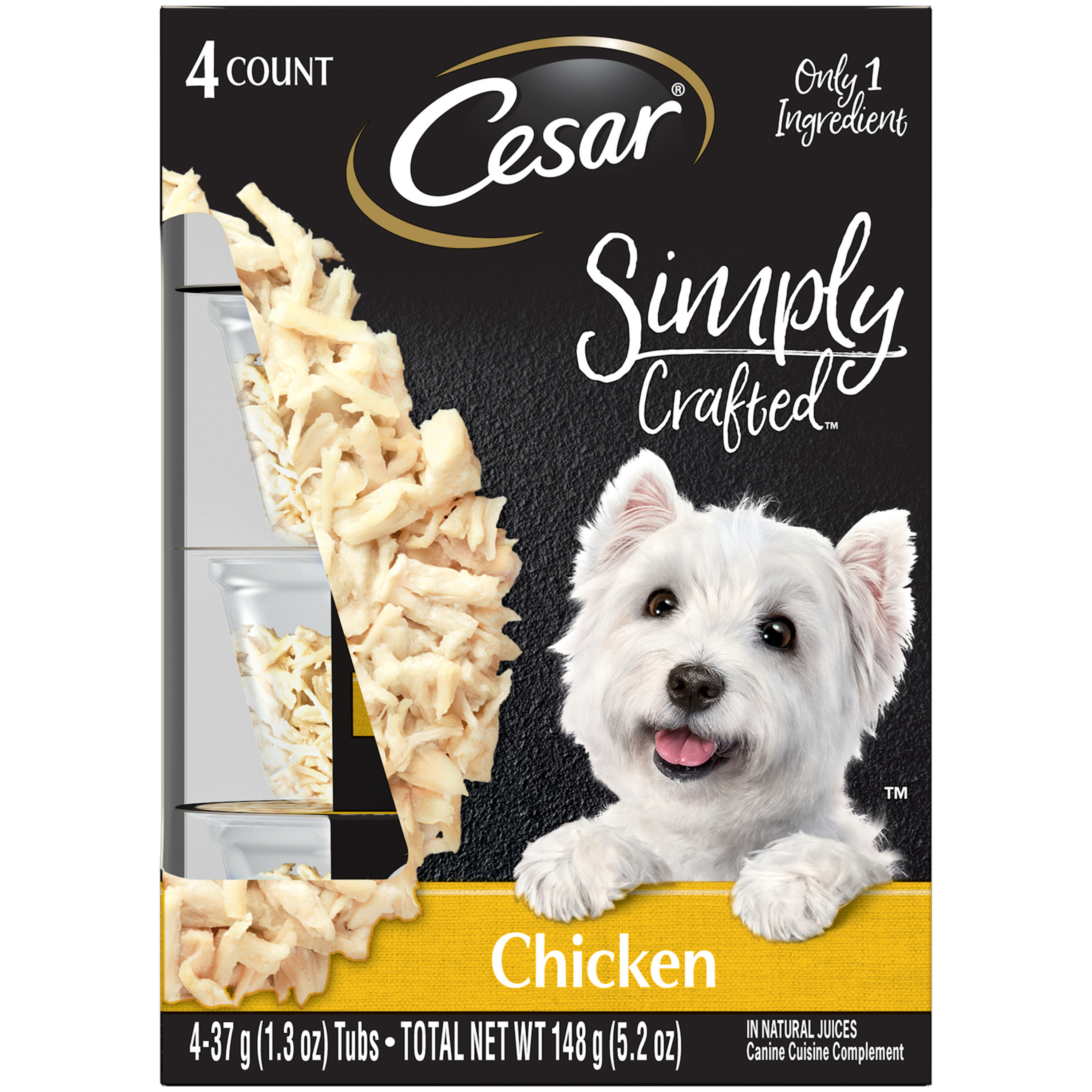 CESAR SIMPLY CRAFTED Adult Wet Dog Food Cuisine Complement, Chicken, (4) 1.3 oz. Tub