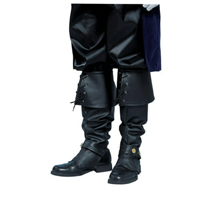 Black Boot Tops Vinyl Adult Pirate Cowboy Costume Accessory (Costume Cowboy Boots)