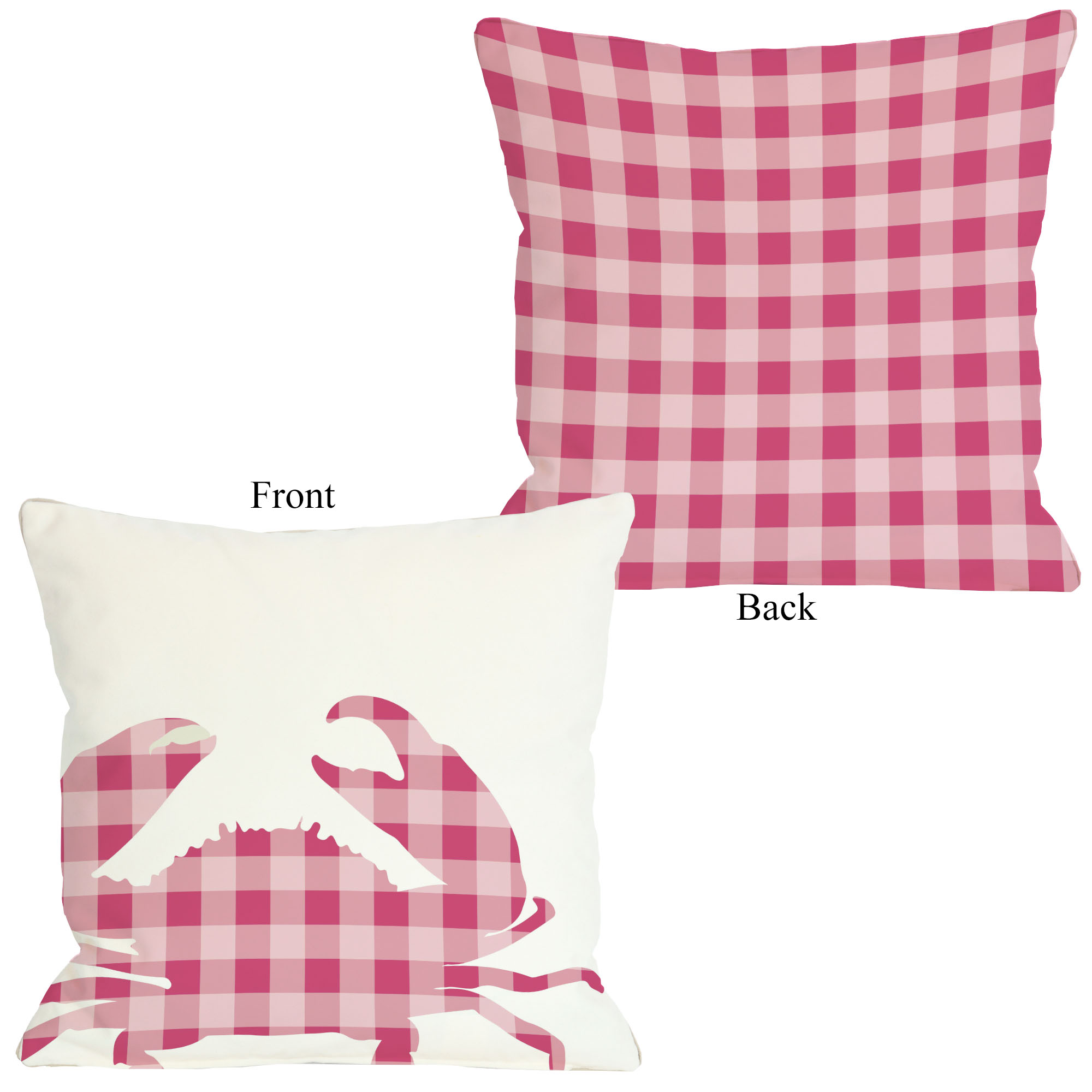 Plaid Crab - Pink 18x18 Pillow by OBC