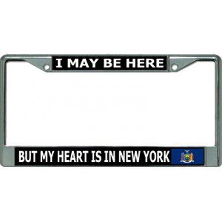My Heart Is In New York Chrome License Plate Frame (Decorative License Plate New York)