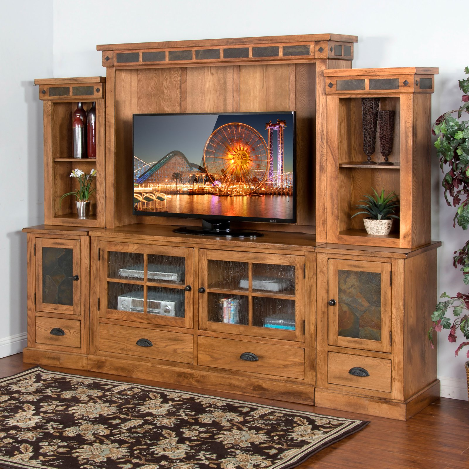 Sunny Designs Sedona 63 in. Entertainment Center - Rustic Oak