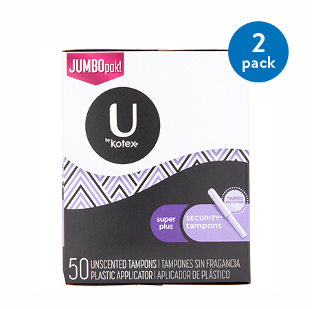 (2 Pack) U by Kotex Security Tampons, Super Plus Absorbency, Unscented (Choose Your Count)