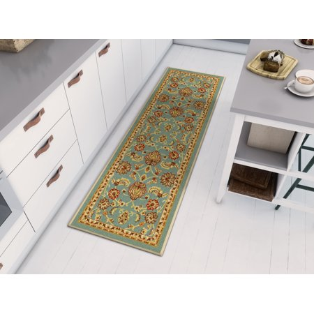 Low Pipe (Well Woven Non-Skid/Slip Rubber Back Antibacterial 2x7 (2' x 7' Runner) Rug Timeless Oriental Blue Traditional Classic Sarouk Thin Low Pile Machine Washable Indoor Outdoor Kitchen Hallway Entry)