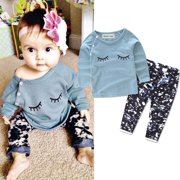 Cute Newborn Infant Baby Girls Tops Long Sleeve Shirt+Pants Outfit Set Clothes