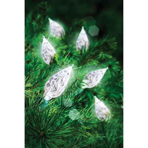 Holiday Time 60-Count LED C6 Cool Teardrop Christmas Lights, White