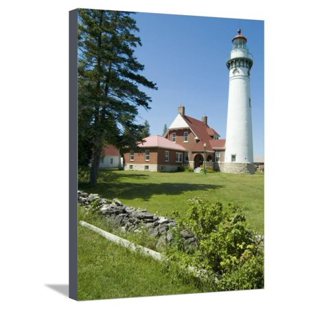 Seul Choix Lighthouse, Michigan, USA Stretched Canvas Print Wall Art By Ethel Davies