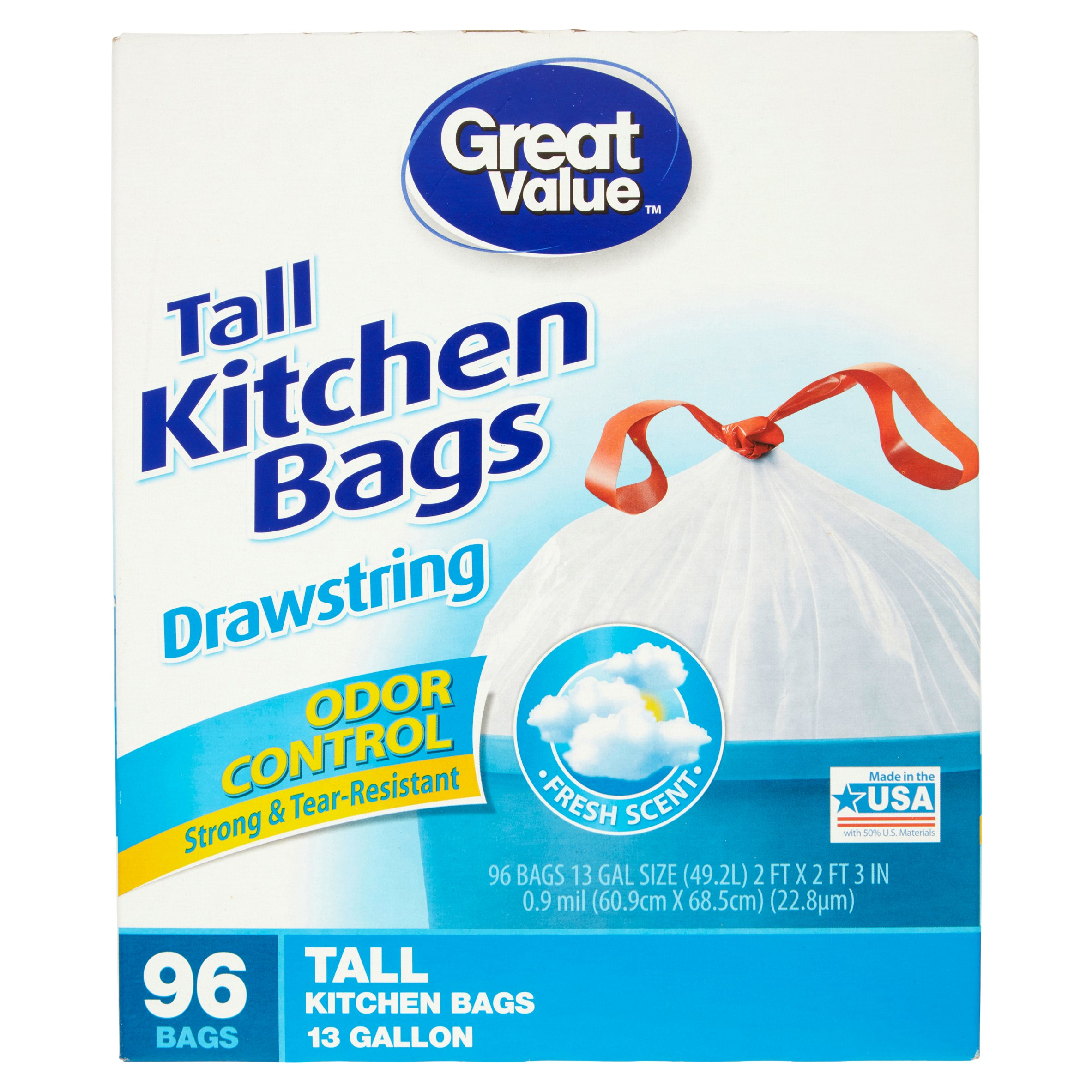 Great Value Fresh Odor Control Tall Kitchen Drawstring Trash Bags ...
