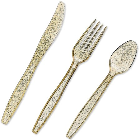 Juvale 96-Pack Gold Glitter Plastic Silverware Set - Disposable Party Cutlery Utensils, Includes 32 Spoons, 32 Forks, 32 Knives - image 6 de 8