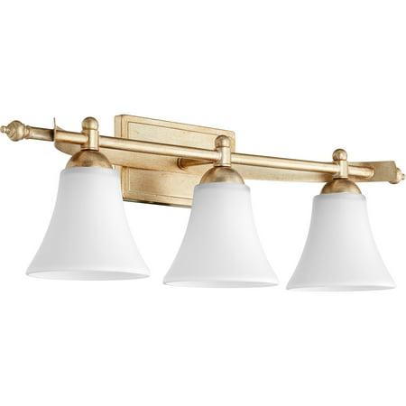 Bathroom Vanity 3 Light With Aged Silver Leaf Finish Medium Base Bulbs 27 inch 300 Watts