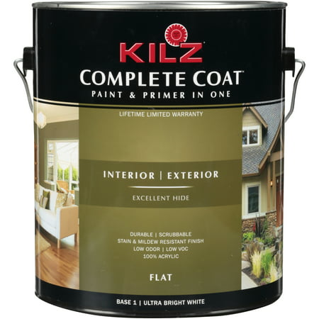 Kilz® Complete Coat™ Interior/Exterior Flat Ultra Bright White Paint & Primer In One Can