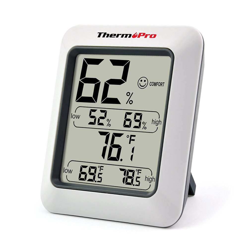 Click here to buy ThermoPro TP50 Indoor thermometer Humidity Monitor Weather Station with Temperature Gauge Humidity Meter Hygrometer by ThermoPro.