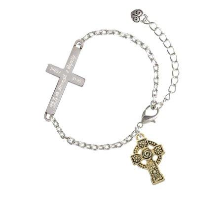 Goldtone Large Celtic Cross - Strength and Dignity - Cross Bracelet