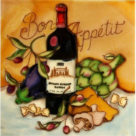 En Vogue B-321 Bon Appetit - Wine and Cheese Tasting - Decorative Ceramic Art Tile - 8 in. x 8 in.