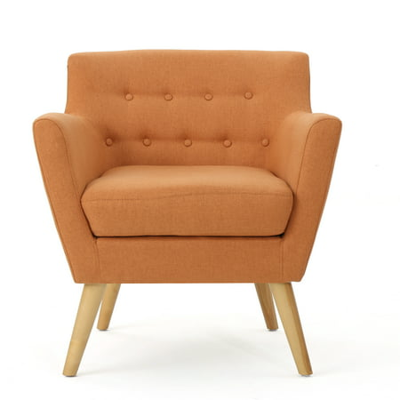 Madeira Buttoned Mid Century Modern Fabric Club Chair, Orange