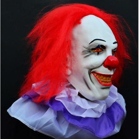Creepy Evil Scary Halloween Clown Mask Latex Classic PENNYWISE CLOWN - Latex Clown