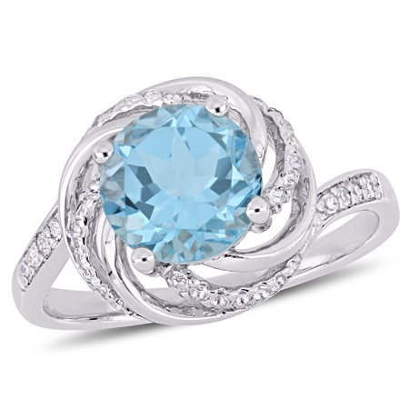 Blue White Swirl (2-1/2 Carat T.G.W. Sky Blue Topaz, White Topaz and Diamond-Accent Sterling Silver Swirl Ring)