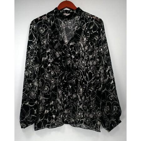 Vanessa Williams Top Sz M Metallic Print Choker Ruffle Blouse Black A438289 (Vanessa Williams Halloween)