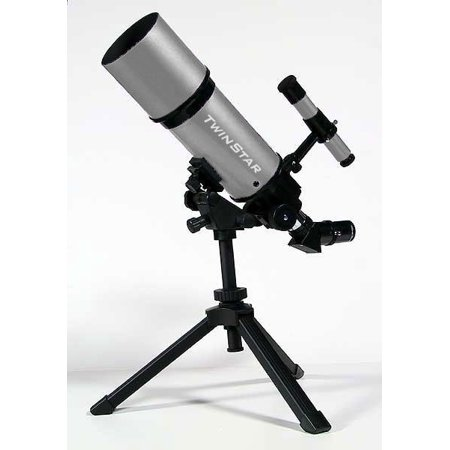 Twinstar 80mm Refractor Telescope with Portable Tripod and Bag, Silver