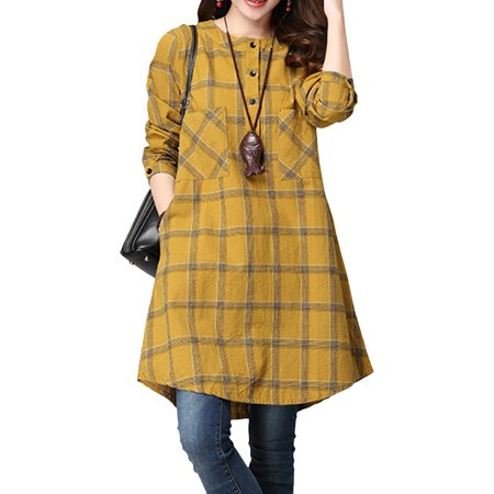 Women's Plaid Lattice Button Up Tunic Shirt Casual Loose Mini Dress