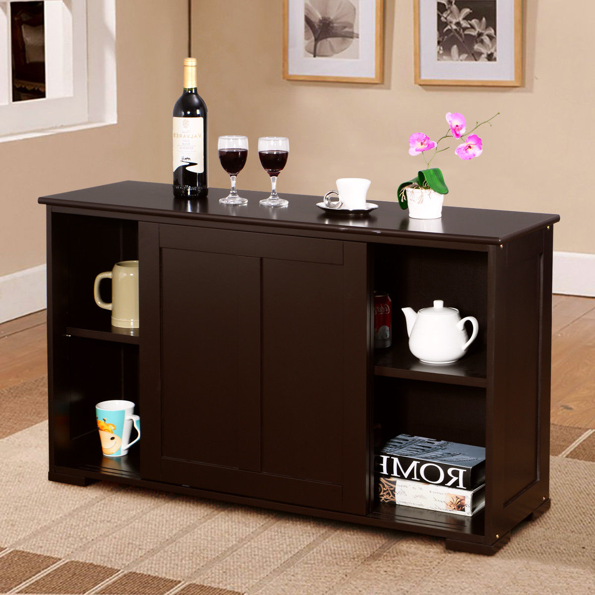 Costway Kitchen Storage Cabinet Sideboard Buffet Cupboard Wood Sliding Door Pantry by Costway