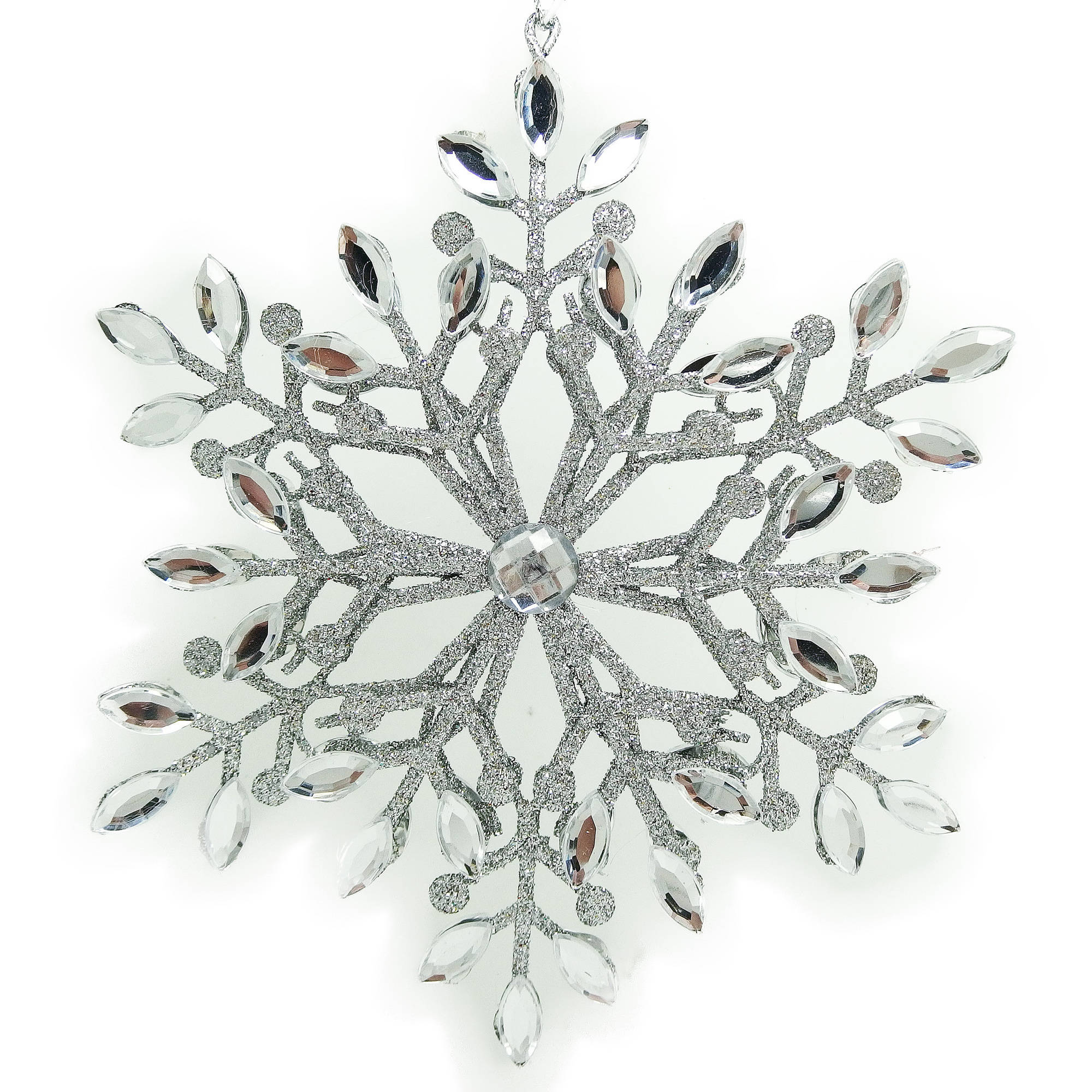 Holiday Time Christmas Ornaments 6-Piece Silver Glittered Gem Snowflake Ornament