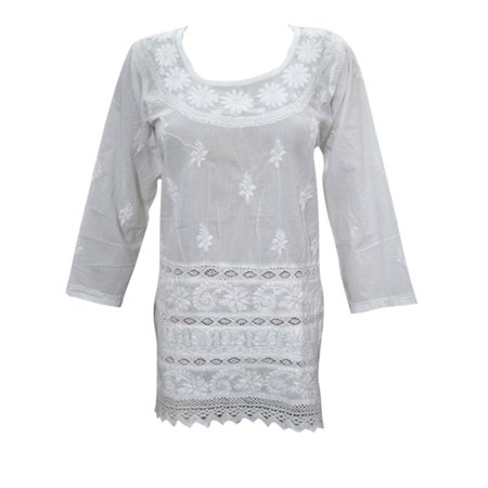 Mogul Womens White Peasant Blouse Tunic Embroidered  Cotton Kurti Top Blouse India Clothing