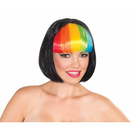 Black Bob Rainbow Bangs Costume Wig Adult One Size (Rainbow Wig Party City)